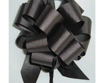 "10 Pull String Bows - Gift Wrap Packaging - 5"" 20 Loops - 1 1/4"" - Black"
