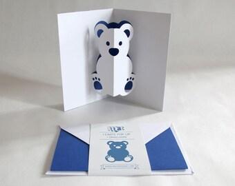 Pop-up Card // Bear Dark Blue // Creative Stationery, Everyday Gift Card, Birthday Card, Greeting Card, Decorative Card