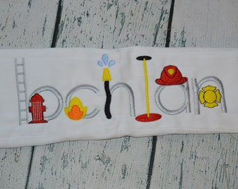 Personalized Fireman Firetruck Burp cloth  Monogrammed Name in Firehouse Lettering
