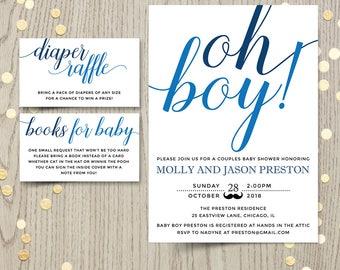 Oh boy invitation etsy oh boy baby shower invitation card couples shower invite blue baby boy shower printable filmwisefo Choice Image