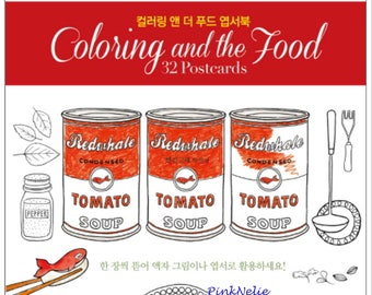Coloring and the Food -  32 Coloring Postcards OR Coloring Book
