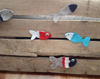 Felt fish in various colours and sizes ideal for small favors or applications