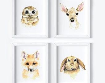 4 Watercolor Prints | Nursery Art | Safari Theme | Woodland Theme | Animal print |Gallery Wall |4 Prints |Art Grouping |Art Wall |Wall Decor