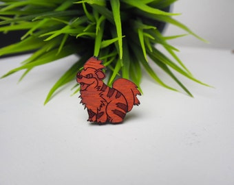 Red Wood Growlithe Pokemon Inspired Pin | Laser Cut Jewelry | Wood Accessories