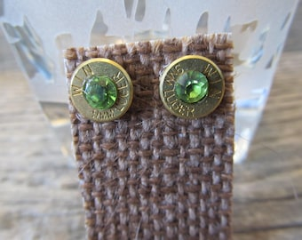 9 mm Earring Studs with peridot crystal  spent casings  - Ready to Ship Today