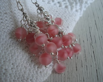 SALE Vintage Matte Frosted Givre German Crystal Pink Glass Beads Cascading Silver Dangle Earrings