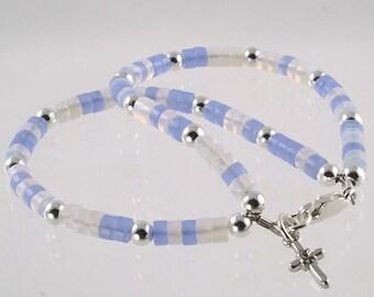 Little girls blue and white handmade bracelet - Baby Blue