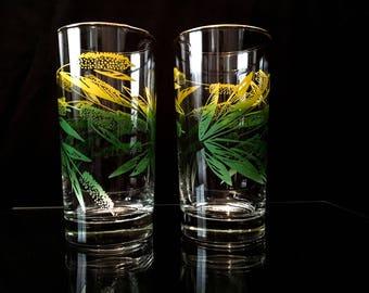 Gold Rimmed Tumbler Glasses (set of 2)