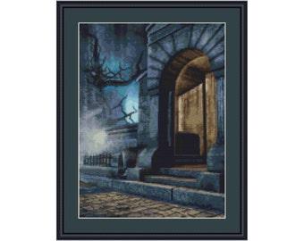 Cross stitch kit Haunted, house, Halloween, ghost, castle
