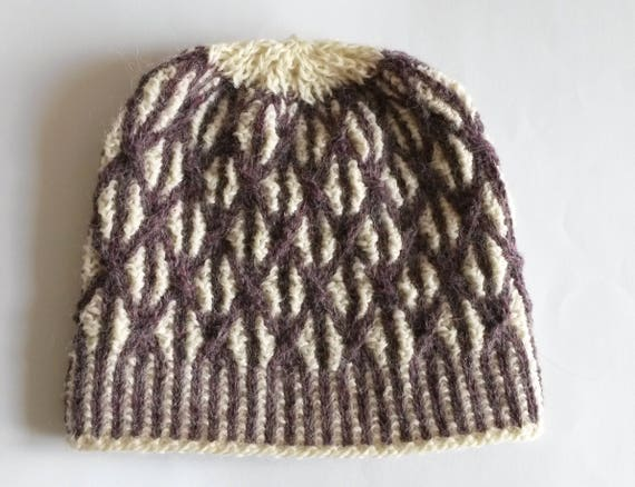 Knit beanie: unique purple and white cable Aran handknit hat. Luxury tweed alpaca & wool. Made in Ireland. Two-tone cap. One of a kind.