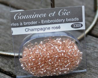Beads embroidery CHAMPAGNE - ROSE (ref 3309)