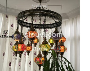 Turkish chandelier etsy 15 ball turkish sultan mosaic chandelier multi color aloadofball Images