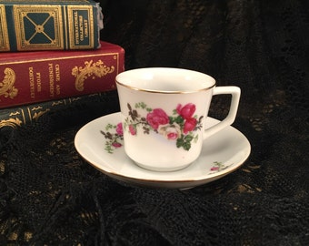 Demitasse Tea Cup & Saucer Rose Floral Design - Made in China 1970 or Less - Zhongguo Zhi Zao