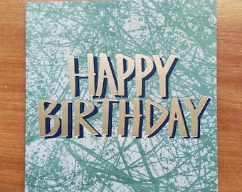 Happy Birthday Foil Blocked Greetings Card, Tangle Plant Pewter
