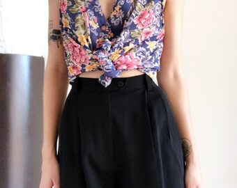 Vintage 90s Blue and Pink Floral Button Up Vest Top