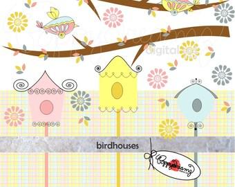 Birdhouses Paper and Elements SET: Digital Scrapbook Paper Pack (300 dpi) Birds Tree Pink Blue Yellow