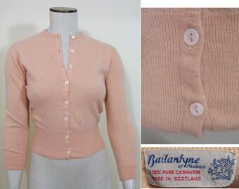Vintage 1950s Pale Peach Cashmere Cardigan by Ballantyne SZ S