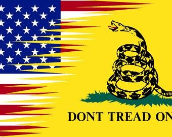 USA Don't tread on me vinyl sticker decal