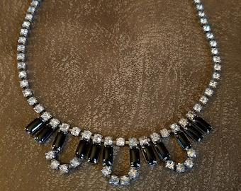Vintage Rhinestone Choker Necklace Pin-up Goth Rockabilly Glamour