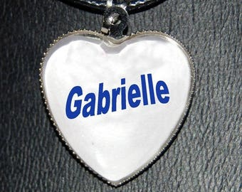 name personalized glass heart pendant necklace