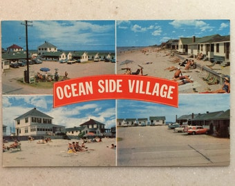 Vintage Maine Postcard Ocean Side Village Old Orchard Beach Maine 1950's Postcard