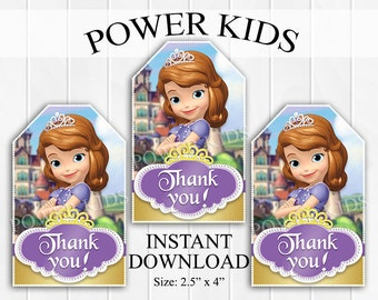 INSTANT Download Sofia the First Thank You Tags, Favor Tags, Party Favors, Printable DIY - Princess Sofia