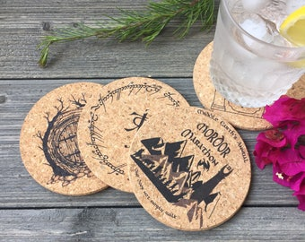 Lord of the Rings Themed Cork Coaster Set of 4, a classic book by Tolkien