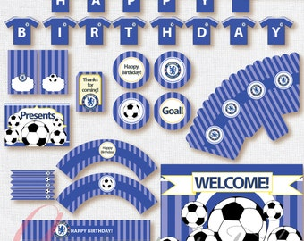 Soccer printables. Instant download. Printable. Matching Custom invitation available. Chelsea FC inspired printables.