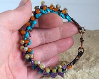 Gem Stoned - Gemstone Leather And Copper Bracelet SRAJD