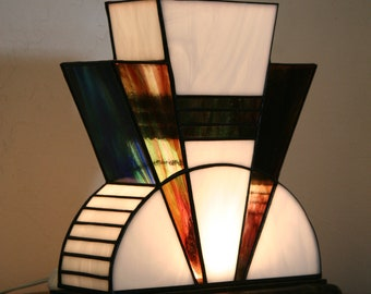 """Tiffany lamp, Art Deco stained glass Tiffany lamp, table """"The First"""" lamp"""