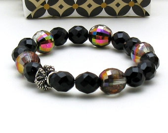 Black Onyx and Crystal Minimalist Beaded Stretch Bracelet For Her   Under 60, One of a Kind Free Gift Wrap