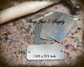 """Rectangle Tag ... NICKEL SILVER - 2 Hole - Metal Stamping Blanks - 24 Gauge, 1 5/8 x 3/4"""" - 5 for You"""