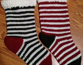 Old Fashioned Striped Christmas Stocking