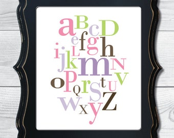 Alphabet Nursery Digital Art Print - 5 color options available
