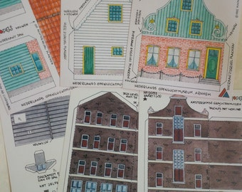 DIY Amsterdam paper house kit - Vintage - 5 sheets - 3 d modeling paper craft supplies - Dutch house Europe