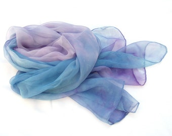 Blue lavender ombre long silk scarf hand painted feminine soft pastel unique gift