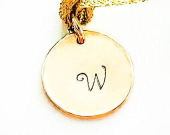 14k Gold Pendant Initial Disc, Gold Charm, Stamped Disc Charm, Birthday Gift, Personalized Jewelry, Gold Jewelry, Handmade