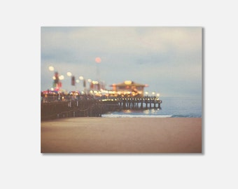 large beach canvas photography, beach pier photo, Santa Monica pier, night photography, ocean wave landscape, abstract, canvas wrap
