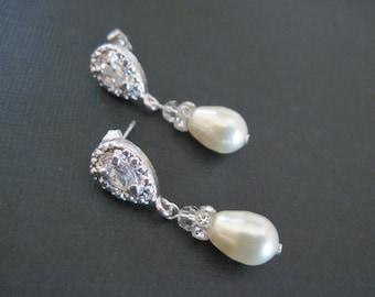 Swarovski Crystal Pearl Drop Earrings/ Bridal Jewelry/ Bridesmaid Jewelry/ Pearl Earrings/ Custom Earrings