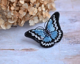 Butterfly Brooch made with sequins Beaded Brooch Blue Butterfly Accessory