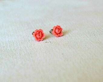 Vintage Earrings- Pink Flower Earrings- Titanium Flower Studs- Pink Rose Earrings- Hypoallergenic Flower Studs- Small Coral Flower Earrings