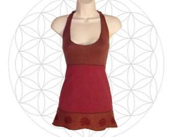 Organic cotton and Hemp Halter top - Roses Print - Handmade and dyed - Custom made to order Organic cotton and Hemp jersey