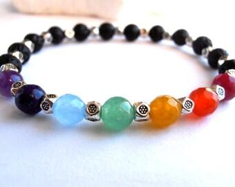 Chakra bracelet, 7 Chakra bracelet, Lava Stone Chakra bracelet, Lava Stone bracelet, Yoga bracelet, Meditation bracelet