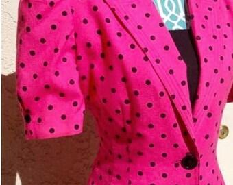 Leslie Fay Dress - Vintage - Pink/Black Polka Dots
