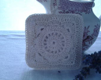 The Pincushion is handmade, crocheted, trimmed with Lavender scented.