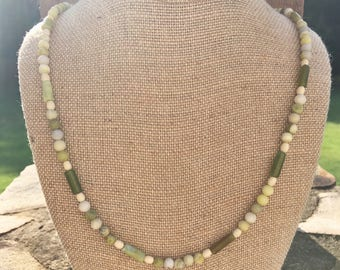 Natural green opal and serpentine stone beaded necklace, gemstone and wood boho style bracelet