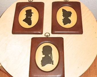 Sidney Lucas Large Silhuette Vintage set 3 Prints 9x7in Wood Frame Man Women Girl Victorian