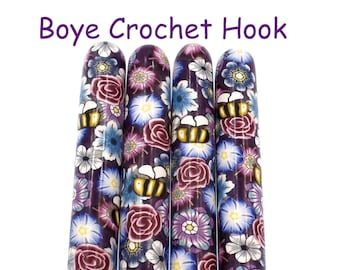 Crochet Hook, Boye Polymer Clay Covered Crochet Hooks, Crochet Hook Size B-N, Custom Crochet Needle, Flowers, Bees