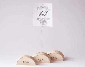 10 rustic wedding table number holder with wire, place card holder, birch wedding table decor,  wedding centerpiece