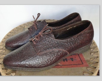 70s Vintage Leather Shoes // Reptile Pattern // Prabel Model Italy // Size 40